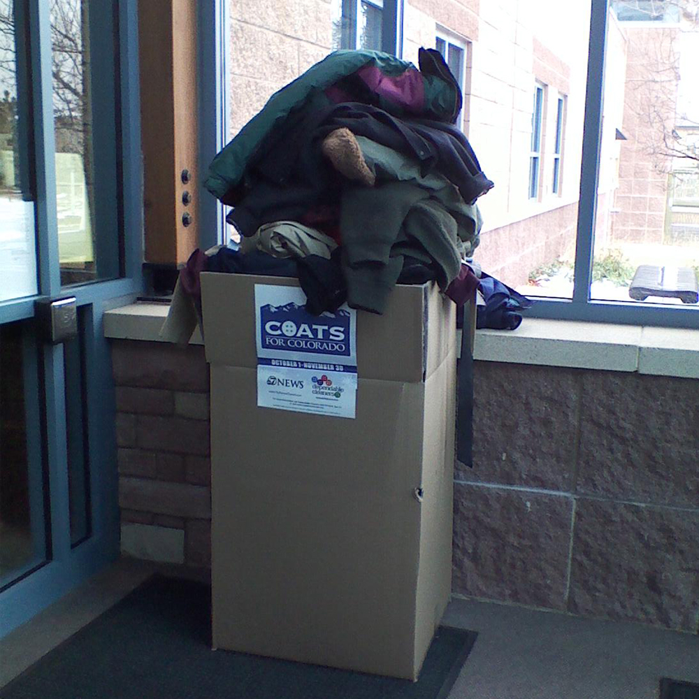 Coats for Colorado, Lone Tree Recreation Center pick up box 2013